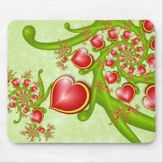 With much Love Red Yellow Hearts Fractal Art Mouse Pad