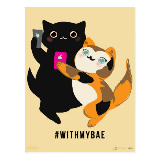 With My Bae Basic Cats Postcard