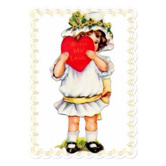 """With My Love"" Vintage Valentine - Flat Card"