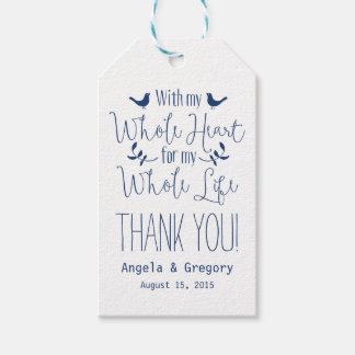 With my whole heart whole life Navy Wedding Favor Gift Tags