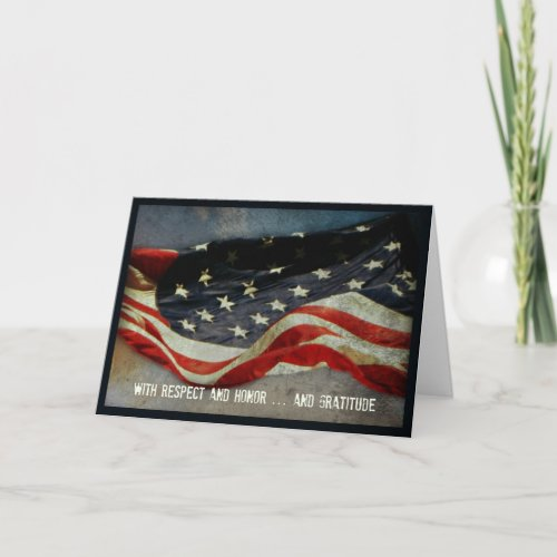 With Respect Honor  _ Thank You Veterans Day Card