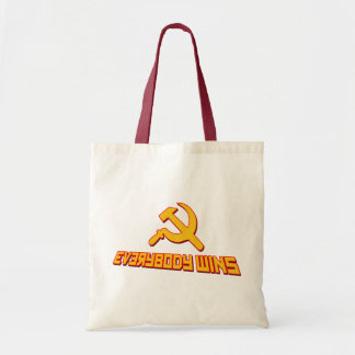 With Socialism Everybody Wins! Government Satire Tote Bags
