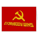 With Socialism Everybody Wins! Government Satire Card