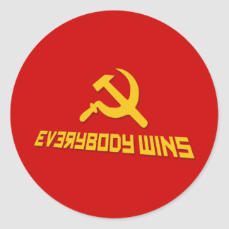 With Socialism Everybody Wins! Government Satire Classic Round Sticker