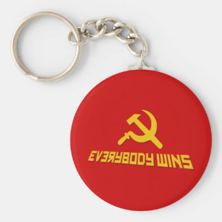 With Socialism Everybody Wins! Government Satire Keychain