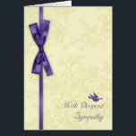 """With Sympathy, Cream Embossed Effect With Dove Card<br><div class=""""desc"""">A simplistic sympathy card in purple and cream,  with a dove and bow,  the flowers have an embossed effect and look embedded. Stylish and Simple when you just need to show you care</div>"""