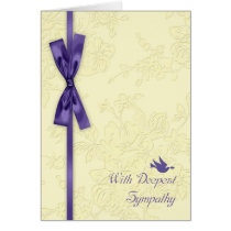 With Sympathy, Cream Embossed Effect With Dove Card