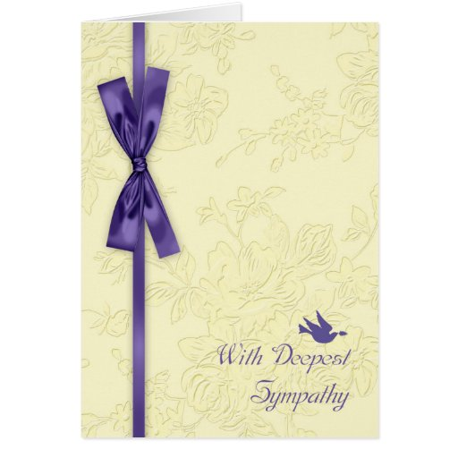 With Sympathy, Cream Embossed Effect With Dove Greeting Card