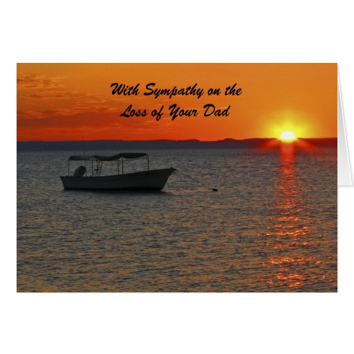 With Sympathy Loss of Dad, Fishing Boat Sunset Greeting Card