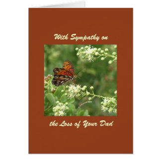 With Sympathy, Loss of Dad, Orange Butterfly Greeting Card
