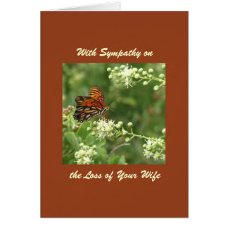 With Sympathy, Loss of Wife, Orange Butterfly Greeting Card