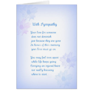 With Sympathy Original Poetry Greeting Card