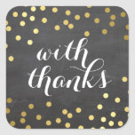 WITH THANKS SEAL modern gold confetti chalkboard Sticker