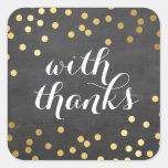 WITH THANKS SEAL modern gold confetti chalkboard Sticker