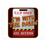 With The Band backstage Pass Postcard