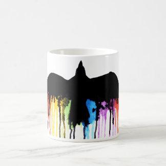 With the rainbow coffee mug