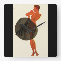 With the Wrong Sid Pin Up Art Square Wall Clock