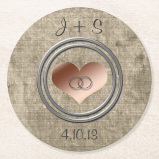 With This Ring by Shirley Taylor Round Paper Coaster