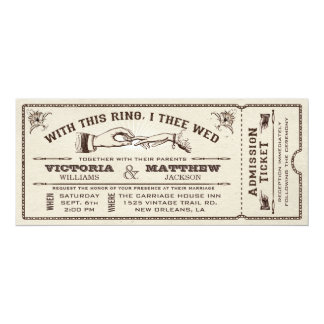 """With This Ring, Vintage Wedding Ticket Invitation 4"""" X 9.25"""" Invitation Card"""