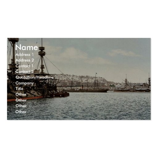 With war ships, Algiers, Algeria classic Photochro Business Card