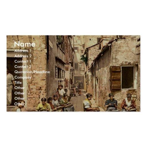 With war ships, Algiers, Algeria classic Photochro Business Card Template