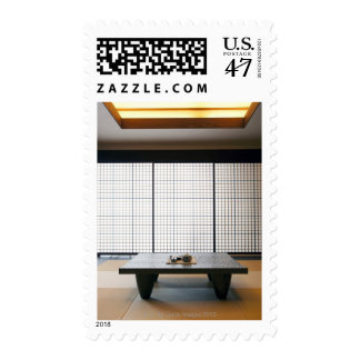with wooden table and modern style tatami : postage stamp
