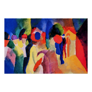 With yellow jacket by August Macke Poster