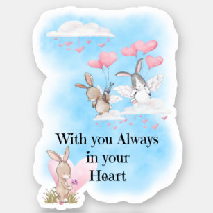 With you always in your heart angel bunny sticker