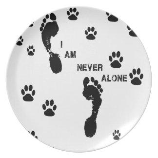 with you I'm neve dog paw prints Melamine Plate