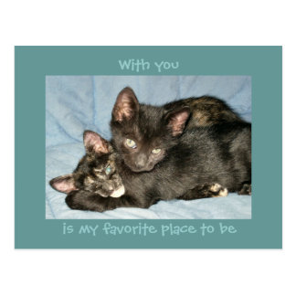 With You Is My Favorite Place To Be Charity Cats Postcard