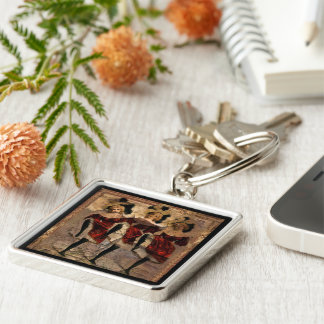 Withering Cancan Silver-Colored Square Keychain