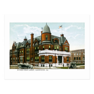 Withers Public Library Bloomington Illinois Postcard