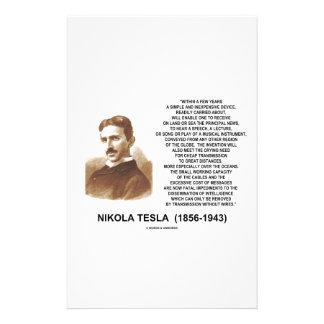 Within A Few Years Simple Inexpensive Device Tesla Stationery Paper