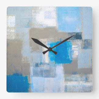 'Without' Blue and Grey Abstract Art Square Wall Clock
