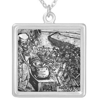 """""""Without Bread, Land, or Money, the Laborer Flees Square Pendant Necklace"""