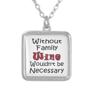 Without Family Wine Silver Plated Necklace