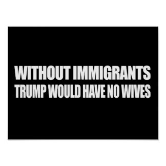 Without Immigrants Trump would have no wives - - . Poster