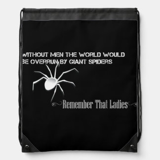 """Without Men"" Stringbag Inverted - Funny Quote Drawstring Backpack"