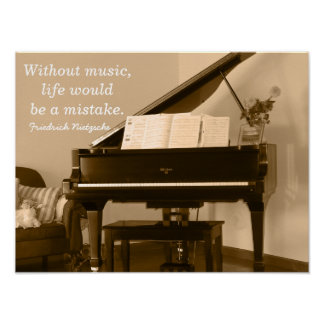 Without Music III -Nietzsche Quote - Art print