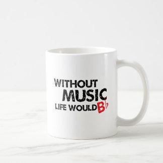 Without Music Life would B (be) Flat Classic White Coffee Mug