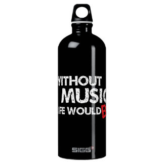 Without Music, Life would b flat! Aluminum Water Bottle