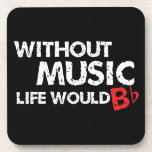 Without Music, Life would b flat! Beverage Coaster