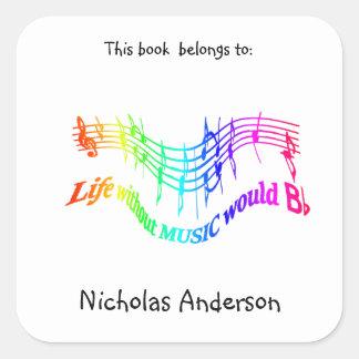 Without Music Life would B Flat Fun Bookplate art