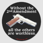 Without the 2nd Amendment Round Sticker