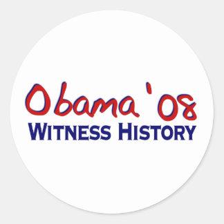 Witness History Obama 08 Classic Round Sticker