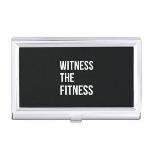 Quotes business card holders cases zazzle witness the fitness exercise quote black white business card holder reheart Choice Image