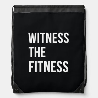 witness the fitness exercise quote black white cinch bag