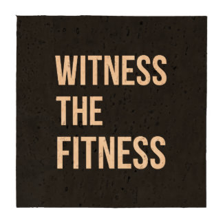 Witness The Fitness Exercise Quote Black White Drink Coasters