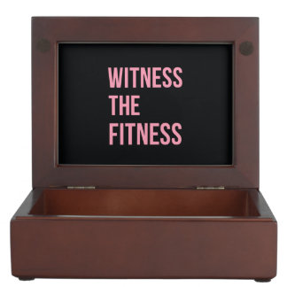 Witness The Fitness Funny Quote Black Pink Memory Box