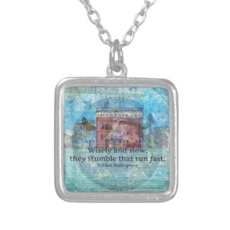 Witty Shakespeare Quote from Romeo and Juliet Square Pendant Necklace